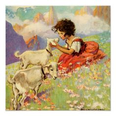 """""""Heidi and Her Goats"""" by Jessie Willcox Smith Posters"""