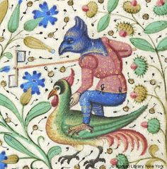 Fantastic man with bird head, holding whirligig and balanced atop bird | Book of Hours | France, Paris | ca. 1460 | The Morgan Library & Museum