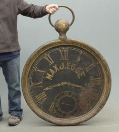 Iron Pocketwatch Trade Sign, 19th Century
