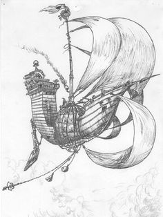 Finally found a picture of this illustration online!! Stormchaser skyship from the edge chronicles,  my favourite books as a child (and tbh still are) I hope to get this tattooed on my thigh