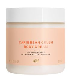 Caribbean Crush. A rich, hydrating body cream with a lush mango and coconut fragrance. Contains nourishing shea butter and vitamin E for smooth, supple skin
