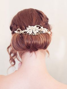 pretty bridal updo and gold crystal hair vine