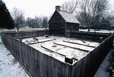 John Dickinson House: A dirt floor dwelling inhabited by slaves and tenants of John Dickinson's plantation as they farmed the land. The enclosed plots were for their root vegetables and herbs.