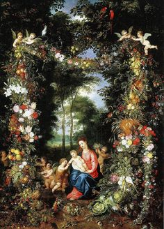 Fruit Garland with Madonna and Child, by Jan Brueghel the Elder