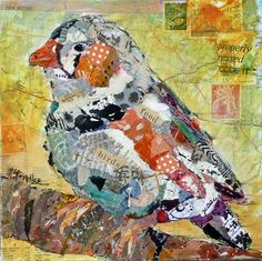 """FEED THE BIRDS"" ~ BIRD COLLAGE  8 x 8 in. on canvas board  Hand painted papers, found papers, vintage stamps, torn paper collage, maps  Artist - Nancy Standlee"
