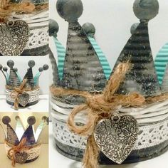 Picture result for crowns from tin cans - Diy Garden Decorations & Gartenbau Tin Can Crafts, Diy And Crafts, Decorative Storage, Decorative Bells, Christmas Deco, Christmas Ornaments, Tin Can Alley, Upcycle, Holiday Decor