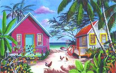Key West Beach Cottages | Tropical Scenes Matted Prints