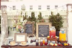 Pancake Bar (but instead a waffle bar) - swoon! Great idea for a bridal shower or brunch Chalkboard Wedding, Framed Chalkboard, Wedding Chalkboards, Vintage Chalkboard, Stage Patisserie, Wedding Outside, Pancake Bar, Pancake Breakfast, Breakfast Buffet