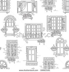 Seamless pattern of retro windows on white background. Hand drawing illustration  sc 1 st  Pinterest & iColor