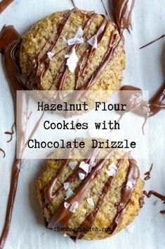 These moist, gluten-free hazelnut cookies get drizzled with chocolate and topped with flaky sea salt. They're a great mix of salty and sweet with soft and crunchy. Decadent Chocolate Cake, Chocolate Cookie Recipes, No Flour Cookies, Cookies Et Biscuits, Baking Recipes, Dessert Recipes, Desserts, Hazelnut Cookies, Vegetarian Chocolate