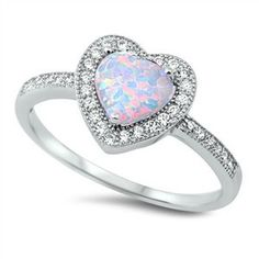 Sterling Silver White Opal Heart Ring Set in Cz Stones Sz 5-10 104697123456