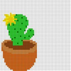 Yellow Flowering Cactus Perler Bead Pattern