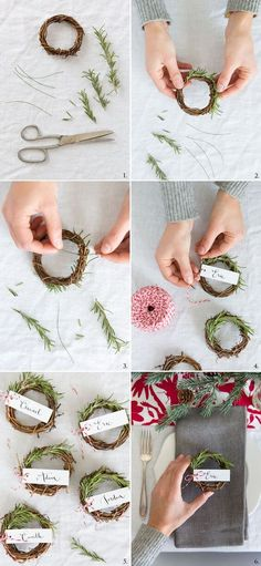▷ 1001 + ideas on how to make table cards ▷ 1001 + Ideen, wie Sie Tischkarten selber machen Make a small wreath of fir branches yourself, attach a pendant with thread, DIY idea for place card - Holiday Wreaths, Holiday Crafts, Holiday Fun, Christmas Decorations, Table Decorations, Favorite Holiday, Holiday Decor, Festive, Noel Christmas