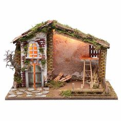 Nativity scene setting house with red roof and barn cm Red Roof House, Christmas Nativity Scene, Diorama, Home And Garden, Cabin, House Styles, Hobbies, Fairy, Home Decor