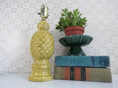 Vintage Pineapple Lamp // Small Ceramic Speckled Table Lamp by thisattic on Etsy, $36