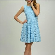 IN STOCK: Beautiful Spring Scallop Dress • Brand New, with tags RETAIL (60% cotton, 40% nylon)  • Perfect for Spring, Easter  •Blue Lace w/ intricate fabric details  • A dress any classy woman would love  • Sizes: 2 Small, 2 Medium, One Large    • IF YOU WOULD LIKE to PURCHASE:   Comment below~ I'll make a a separate listing.    ❗️DO NOT PURCHASE THIS LISTING❗️ Moon Collection Dresses Mini