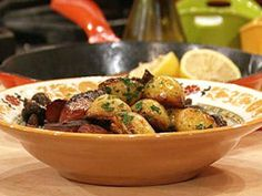 Pan-Fried Potatoes with Chorizo and Mushrooms. (Serve with chapata.)