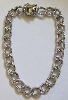 Vtg Sterling Silver Twisted Curb Link Fancy Starter Charm Bracelet 15grams 7 1 4   eBay
