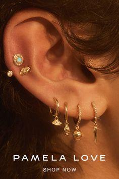 Pretty Ear Piercings, Ear Peircings, 3 Lobe Piercings, Multiple Ear Piercings, Triple Lobe Piercing, Cartilage Piercing Hoop, Upper Ear Piercing, Ear Piercings Chart, Different Ear Piercings