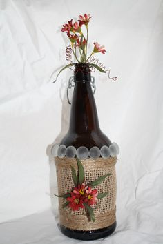 Burlap and twine wrapped cork bottle