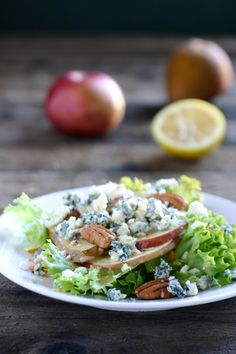 Apple, Pear Gorgonzola Salad. Sounds good I think I'll make this for my potluck tomorrow.