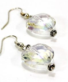 Items similar to Clear Crystal Heart Earrings with Fancy Silver Accents. Faceted AB Coated Glass Bead Reflect Colors with Rainbow High Lights. Chunky Earring on Etsy Heart Earrings, Stone Pendants, Clear Crystal, Jewelry Supplies, Beautiful Necklaces, Gem, Glass Beads, Beading, Jewelry Watches