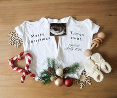 Editable Christmas Twin Pregnancy Announcement for Social Media, Custom Baby Announcement Digital File, Twin Birth Announcement, Twins Sibling Baby Announcements, Gender Reveal Announcement, Cute Pregnancy Announcement, Pregnancy Gender Reveal, Pregnancy Photos, Christmas Baby Announcement, Christmas Baby Reveal, Twin Baby Clothes, Baby Love