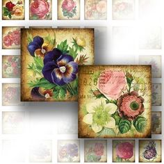 Digital collage sheet art 1x1 digital collage sheets for scrabble tiles jewelry making paper supplies Victorian flower