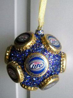 Miller Lite beer bottle cap Ornament by jennaevesblocks on Etsy, ❤️vanuska❤️ Beer Bottle Crafts, Beer Cap Crafts, Bottle Cap Projects, Redneck Christmas, Christmas Crafts, Bottle Cap Art, Xmas Ornaments, Crafts To Do, Holiday Crafts