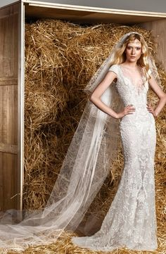 Zuhair Murad - Illusion Sheath Gown in Beaded Lace