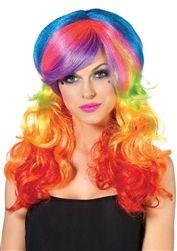 Rainbow Multicolor Adult Wig Hair Sea Princess Rocker Punk Halloween Costume