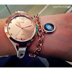 LOISIR 11L65-00079 klein dameshorloge met wit leren horlogebandje