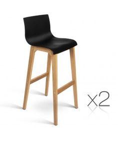 2 Set High Seat Back Barstools - Black