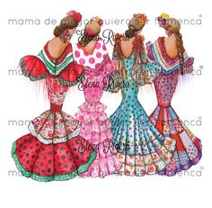 MDMQSF Flamenco Party, Flamenco Dancers, Easy Canvas Painting, Fabric Painting, Dress Illustration, Vintage Pictures, Fashion Sketches, Kawaii, Diy Art