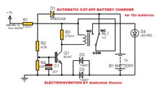 Automatic Battery Charger Circuit for Lead-acid. The circuit which monitors battery charging and automatic charging and cutoff for Lead-acid battery. Battery Charger Circuit, Automatic Battery Charger, Computer Ups, Ohms Law, Electronic Circuit Projects, Engineering Projects, Circuit Design, 12v Led, Circuit Diagram