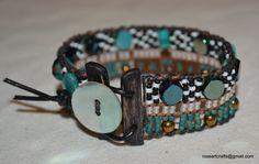 Hand loomed beaded bracelet with multi-colored seed beads Southwest Sundance Bohemian Western loom roseartcrafts boho folk bw_153