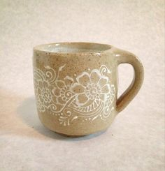 Tan and White Ceramic Mug with Floral Henna Design on Etsy, $15.00