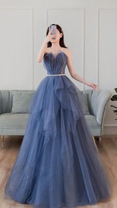 Cute Prom Dresses, Prom Outfits, Pretty Dresses, Beautiful Dresses, Vintage Prom Dresses, Unique Formal Dresses, Tulle Prom Dress, Ball Gown Dresses, Blue Ball Gowns
