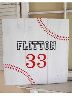 {baseball board sign with chalkboard blue} - Simply Kierste Would fun for a boys' room!