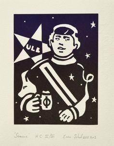 """""""Semeur"""", linogravure réalisée en 40 exemplaires par Eric Schelstraete, 2013. Auto-portrait de l'auteur à l'âge de 25 ans. Travail effectué pour une édition collective du cours de gravure à l'académie de Watermael (Bruxelles)."""