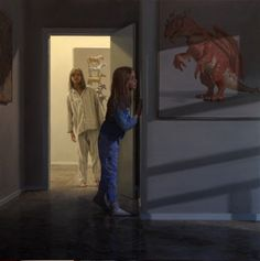 "Ron Francis - ""Dragons and Ponies"" oil - ""Portrait of two sisters, a representation of the girls' personalities, arranged so neither was dominant. Mural Painting, Figure Painting, Oil Paintings, Ron Francis, Bo Bartlett, Art Addiction, Magic Realism, Oil Portrait, Australian Artists"