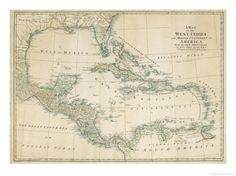 The Caribbean with the West Indies and the Coasts of the United States and the Spanish Possessions  FOR MUD ROOM? UNDER PLEXI?