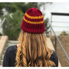 Gryffindor Beanie/Hat (€6,74) ❤ liked on Polyvore featuring accessories, hats, long beanie hat, wide hat, crochet hat, knit beanie caps and long hat
