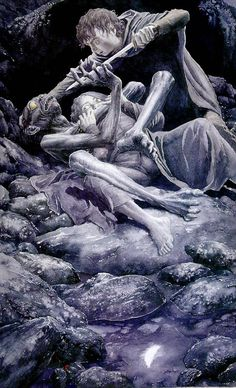 Alan Lee's Lord of the Rings Artwork / Gollum attacks Sam and Frodo. This is Sting, you've seen it before.