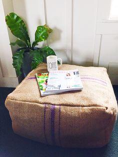Burlap Coffee Sack Pouf - Chels Lynn Blog
