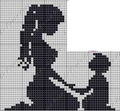 point de croix ombre mere et enfant assis - cross stitch shadow mother and child…