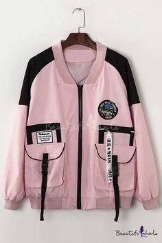 New Arrival Chic Color Block Letter Print Zip Up Baseball Jacket, Fashion Style Coats & Jackets K Fashion, Kawaii Fashion, Cute Fashion, Korean Fashion, Fashion Outfits, Womens Fashion, Fashion Design, Winter Fashion, Fashion Tips