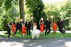 wedding party jumping