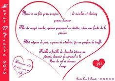 Menu pour la Saint Valentin - Casino de Lons le Saunier