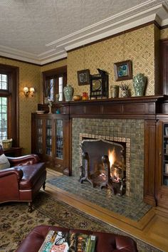 Moravian tiles and Pugin-designed wallpaper in a 1908 Tudor. Photo: William Wright